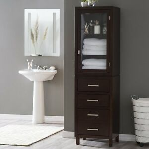 marvelous bathroom storage cabinet | Dark Brown 3 Drawer Vertical Linen Tower Cabinet Home ...