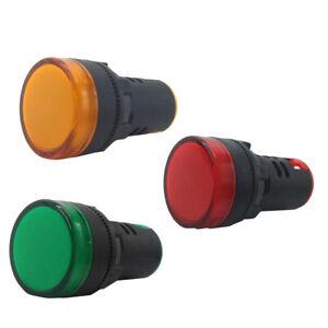 3X 22mm 220V AC LED Signal Indicator Light Lamp Red Green Yellow
