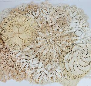 Vintage Mid Century 1950s Handmade Crochet 2-19 Inch Doilies LOT OF 20