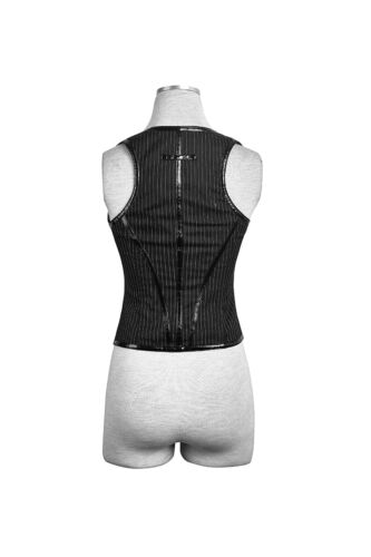 Punk Rave Y-686 Gothic Steampunk Military U Shaped Fitted Stripes Vest Waistcoat