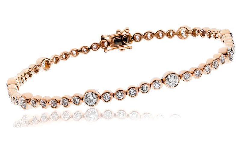 Diamond Tennis Bracelet  Certified 2.50ct F VS Brilliant Cut in 18ct pink gold