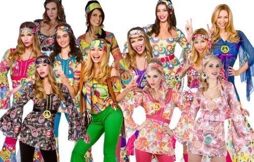 Damen Hippie Hippy Hippy Hippy Maskenkostüm 60er Jahre 70er Groovy Flower-Power Ausrüster | Abgabepreis  | Neue Produkte im Jahr 2019  | Niedriger Preis  13b6c5