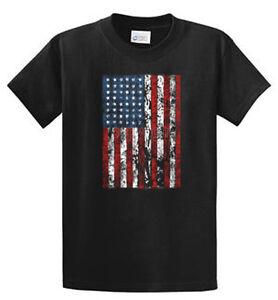 Distressed flag mens printed tee shirts reg to big and for Big and tall printed t shirts