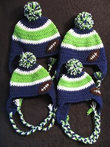 Image is loading Crochet-Seahawk-Hats-Ear-Flaps-Braids-Pom-Pom- 9a0fc808a24
