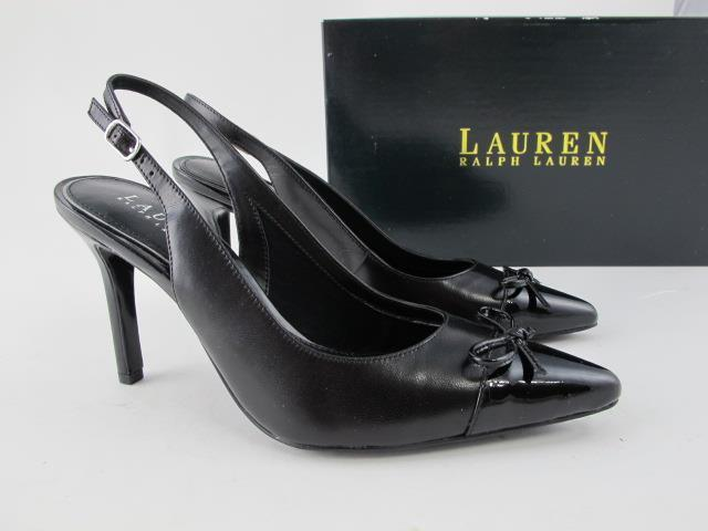 Ralph NEW Lauren NEW Ralph Sienna $98 Black Leather Womens 6 Pointed Toe Slingback Pumps c75bfa