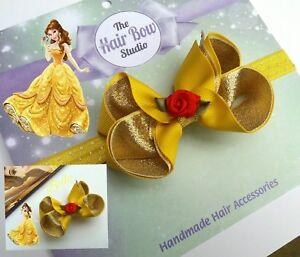 hair bow clips 1 HANDMADE girls hair accessories Disney Belle Beauty and Beast
