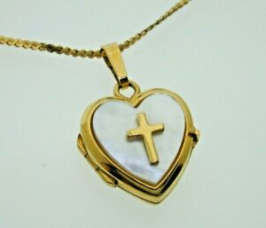 Mother-of-Pearl-amp-9ct-Gold-Cross-Heart-Locket-Pendant-18ct-S-Link-Chain-16-034-5-7g