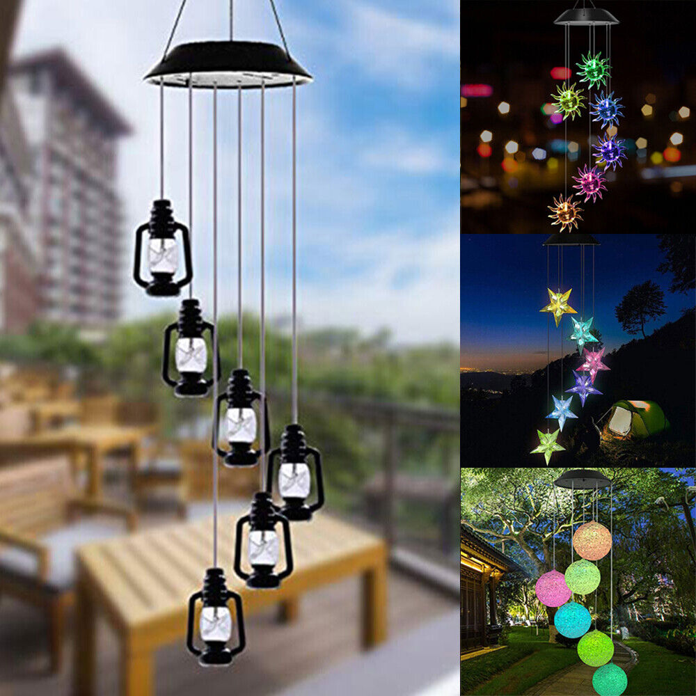 Solar Hanging Wind Chimes Colour Changing Powered LED Lights Garden Outdoor WL