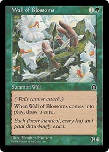 WALL OF BLOSSOMS Stronghold MTG Green Creature — Plant Wall Unc