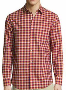 NWT-New-Mens-L-XL-Claiborne-shirt-long-sleeve-red-blue-plaid-STRETCH-button-down