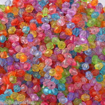 Großverkauf Mix Acryl Doppelkegel Perlen Bicone Rhomben Facettiert Beads 4x4mm