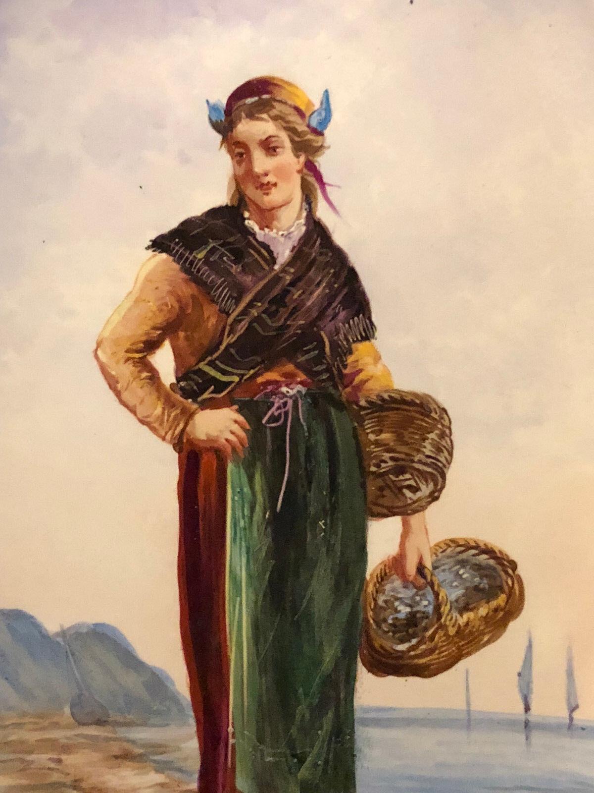 Pintura sobre Faience Choisy el Rey Antique Francesa Painting Melocotón Marina