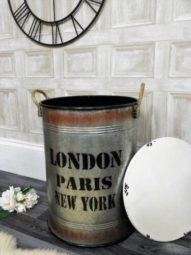 Small Industrial retro style metal storage laundry bin basket study home decor
