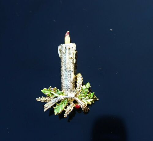 BROOCH Christmas burning candle marked Gerry/'s