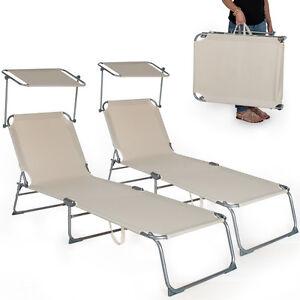 2x gartenliege sonnenliege strandliege freizeitliege mit sonnendach 190cm beige ebay. Black Bedroom Furniture Sets. Home Design Ideas
