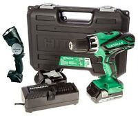 Hitachi 18v Li Ion 2.5ah 13mm Cordless Combi Drill Screwdriver 2 Batteries Torch