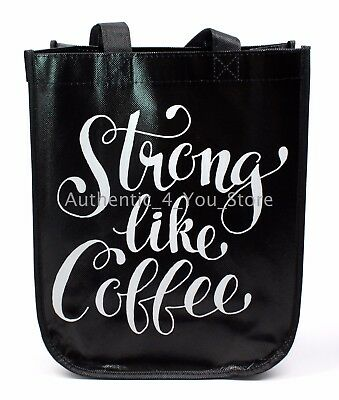 New Starbucks 2017 Strong Like Coffee Reusable Tote Bag Black Christmas Promo Ebay