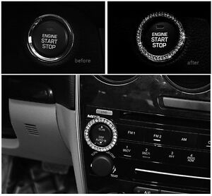 one-Car-SUV-Bling-Decorative-Accessories-Button-Start-Switch-Silver-Diamond-Ring