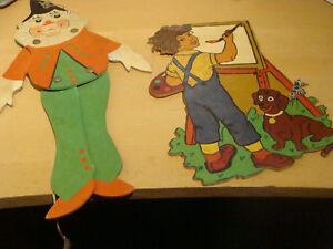 2x Ausgesägter Hampelmann/holzbild-handbemalt-größe Ca 35/23cm-wohl 50.er/60.er SchüTtelfrost Und Schmerzen