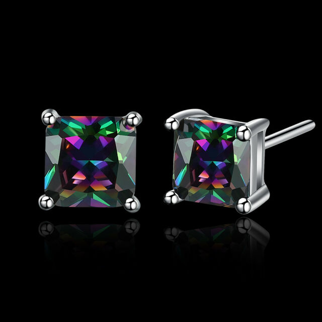 2.00 CTW Genuine Mystic Topaz Stud Earrings by Aventura Jewelry