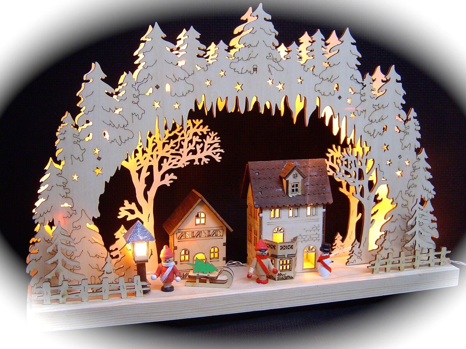 3D LED Arcos de Luces Arbotantes 3 Niños Invierno Casas + Linterna 43 X 30cm