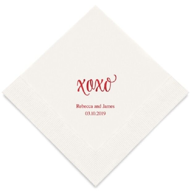 300  XOXO Personalized Wedding Luncheon Napkins