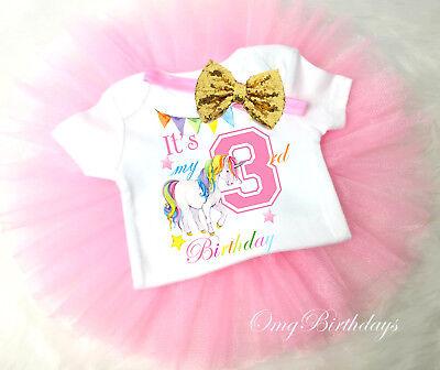 pink third birthday number 3 shirt 3rd birthday 3rd birthday girls outfit Girl/'s Third birthday outfit glitter birthday shirt with skirt