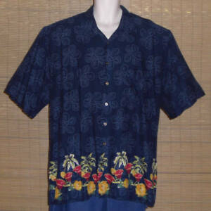 Natural Issue Hawaiian Shirt Blue Red Gold Cocktails Flowers Palm Trees Size XLT