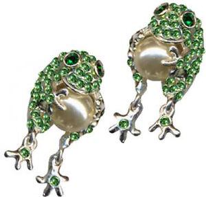 New-Sterling-Silver-925-Earring-ear-Frog-Pearl-Green-rhinestone-Crystal-zirconia