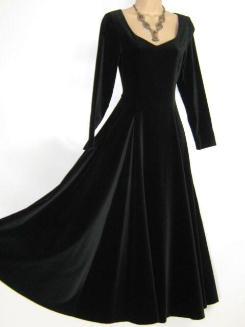 77f44742fab LAURA ASHLEY VINTAGE BLACK VELVET ELIZABETHAN   TUDORESQUE STYLE EVENING  DRESS