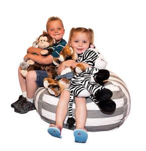 Best Stuffed Animal Storage Bean Bag Chair, Premium Cotton Canvas Toy Organizer