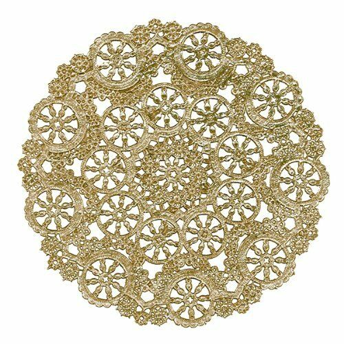 "100-12/"" GOLD Metallic FOIL PAPER LACE DOILIESGold Doily Chargers FREE SHIP!"