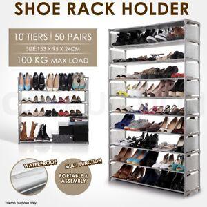 Portable 50 Pairs 10 Tiers Steel Stackable Storage Shoe Rack
