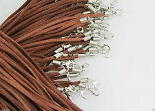 Wholesale 5pcs Brown Suede Leather String Necklace Cord Jewelry Finding 47cm