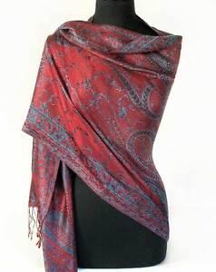 Dark-Red-amp-Gold-Silk-Indian-Shawl-Reversible-Jamavar-Shawl-Jamawar-Stole