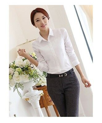 Women White OL Career Business Lapel Long Sleeve Solid Button Shirt Blouse Tops