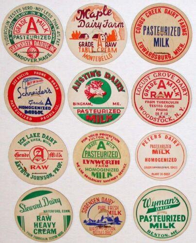 Vintage milk bottle caps LOT OF 24 DIFFERENT originals #11 unused new old stock