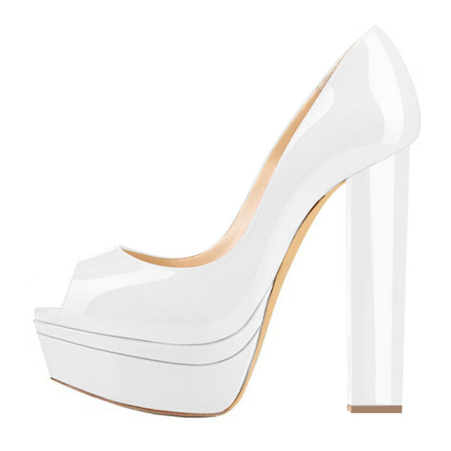 Onlymaker Womens Peep Toe Block Chunky High Heel Platform Slip On Pumps Size US9