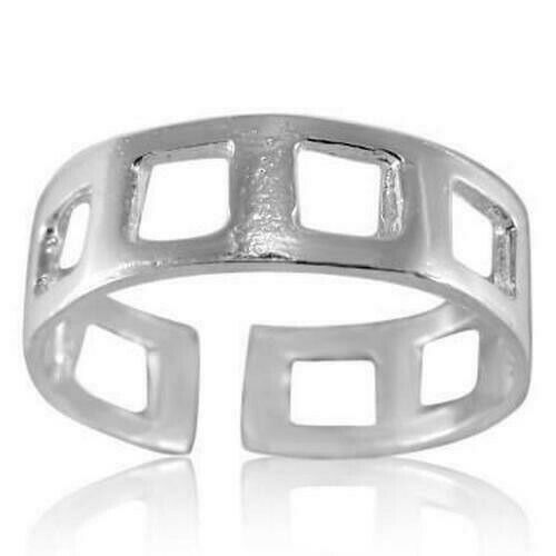 Square Holes Toe Ring Genuine Sterling Silver 925 Ship from USA Adjustable