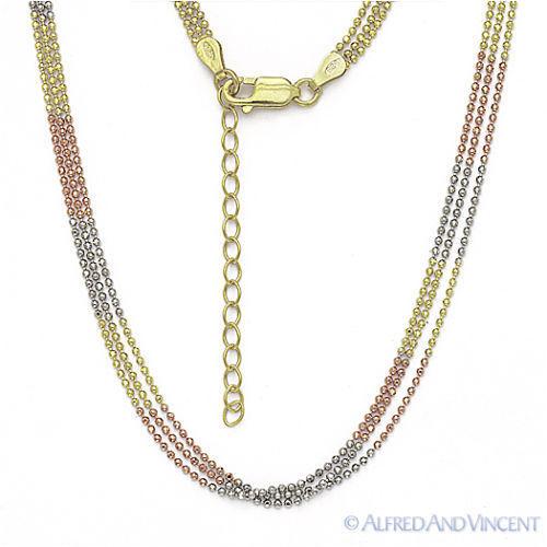 Argent Sterling 925 14k Jaune or rose perles Lien italien Triple Chaîne Collier