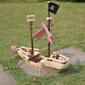 """Large 43"""" Wooden Pirate Ship Decoration Nautical Ocean Pirates Ships Toy Gift"""