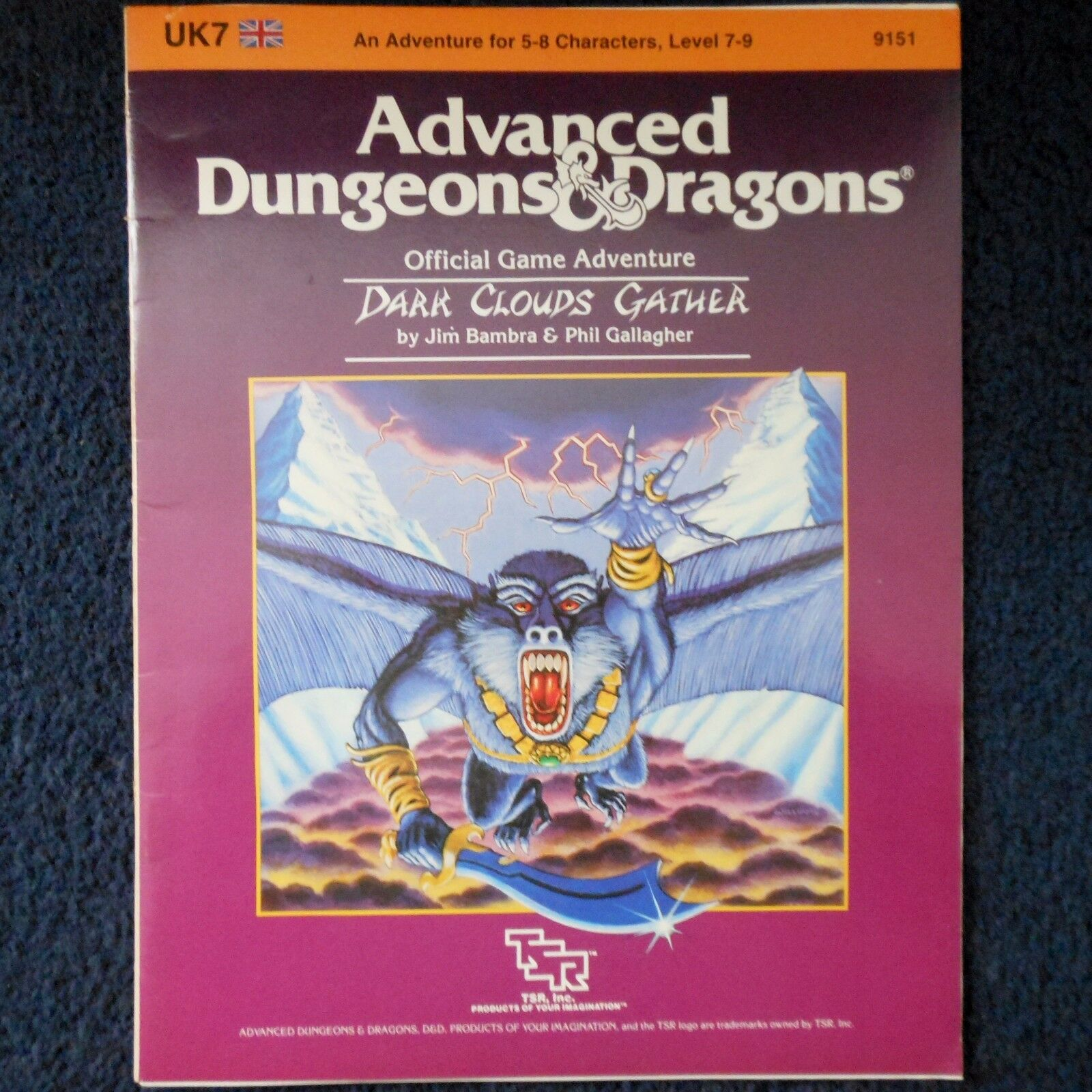 UK7 Dark Clouds Gather Advanced Dungeons & Dragons Adventure Module D&D 9151 TSR