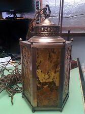 Vintage Hollywood Regency Brass Hanging Swag Pendant Lamp Amber Glass Spanish