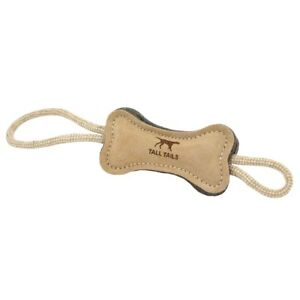 """Tall Tails 16"""" DOG BONE TUG Natural Leather/Wool Dog Toy"""