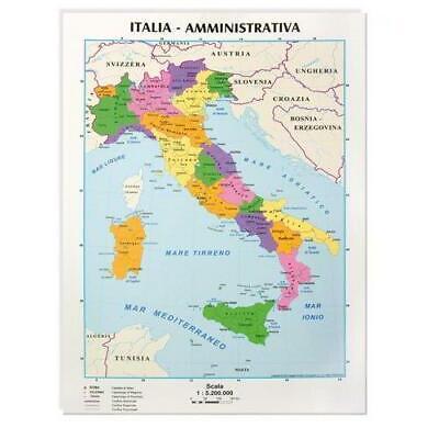 Cartina Geografia Italia.Confezione Da 10 Pezzi Cartina Geografica Italia Fisica Politica 09343 Ebay