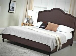 """purchase cheap 9be95 cf0fc Details about Platform Frame Bed Slats Full Furniture Bedroom 51"""" Tall  Brown Linen Headboard"""