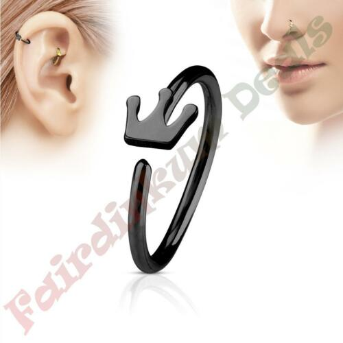 316L Surgical Steel Black Ion Plated Nose /& Ear Cartilage Ring with Crown