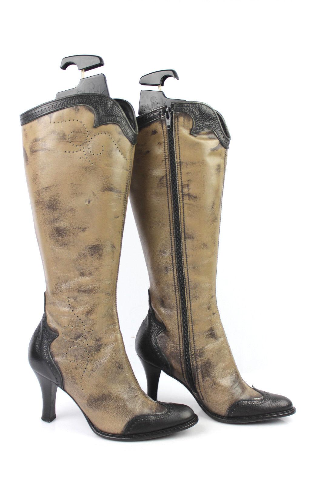 Stiefel SAN MARINA Leder taupe hell nuanciert schwarz t 36   37