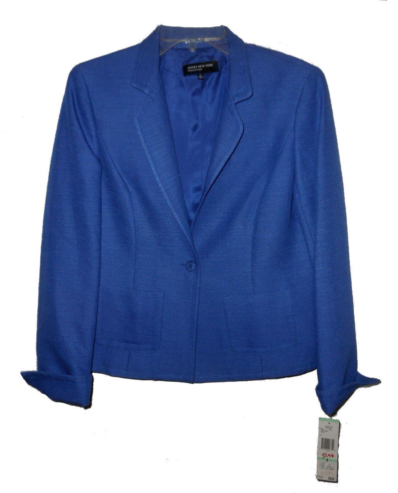 New Blazer Jones New York Belcanto Business Cotton-Silk Cobalt MSRP- 8
