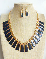 Art Deco Gold Plated Black Triangel Enamel Occasional Necklace Earrings Set